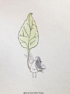 little fairy girl on a leaf, watercolour, illustration