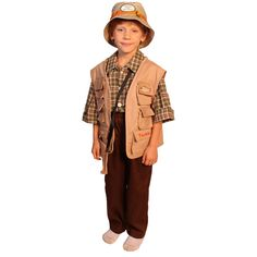 Let the little man in your life dress up as his favorite fisherman in this fisherman costume for boys. This costume is complete with a floppy hat, plaid shirt, and matching pants and vest. All his gear can be stored in the convenient bait bag.