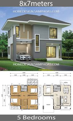 Small House Plans with 5 Bedrooms - House Plan Map Two Story House Design, Modern Small House Design, 2 Storey House Design, 5 Bedroom House Plans, Dream House Plans, Small House Plans, Pool House Designs, Bungalow House Design, House Layout Plans