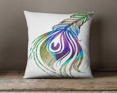 Peacock Tail Feather Decorative Throw Pillow Case -White Peacock Home Decor, Peacock feather pillow, Peacock Photo Pillow, Christmas Gift,