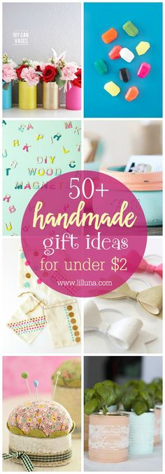 50+ Handmade Gift Ideas that can all be made for under $2!!! Check out this great list of DIY gifts that are inexpensive, cute and perfect for saving money this holiday season.