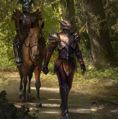 Party of 2 f Dragonborn female Fighter Squire Plate Armor m Fighter Champion Plate Armor Helm Horseback LN male road Mixed forest lg (saved) Elder Scrolls Races, Elder Scrolls Skyrim, Reptiles, Lizards, Female Fighter, Art Story, Fantasy Art, Racing, Character Ideas