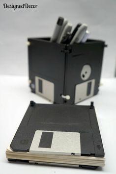 Re-purposed Floppy Disk pen holder/box ~ From Designed Decor