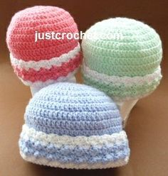 Free baby crochet pattern for brimmed beanie hat http://www.justcrochet.com/brimmed-beanie-hat-usa.html #justcrochet #patternsforcrochet