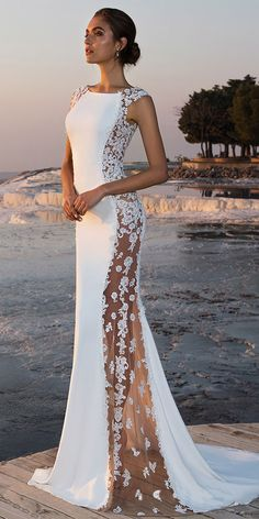 f0a3d0efb448 [193.79] Fabulous Stretch Chiffon Bateau Neckline See-through Mermaid  Wedding Dress With Beaded Lace Appliques