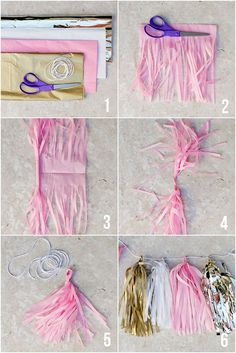 How to Make Tissue Paper Tassel Garland! Such a cute party craft and it's super … How to Make Tissue Paper Tassel Garland! Such a cute party craft and it's super easy and inexpensive! Grad Parties, 1st Birthday Parties, Birthday Ideas, Birthday Crafts, Pink And Gold Birthday Party, Baby Girl Birthday, Gold Party, Hen Party Decorations, Garland Decoration