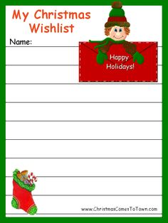 Cute Christmas Wish List Template Free Printable  Free Printable Christmas Lists