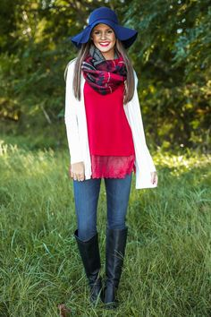 Minus the hat - love this look for a fall family photo shoot. Again And Again Cardigan-Ivory - New Today | The Red Dress Boutique