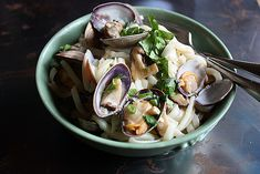 udon with clams and shiitake mushrooms