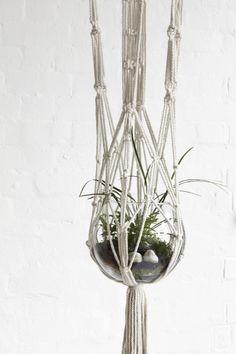 Hanging Macrame Pot Holder White - for the bathroom