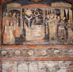 Detail of a 6th century fresco showing St. Clement celebrating mass (photo) in the 4th century underground basilica; the church has three layers which date from the 1st century AD when the structure was a temple to the Pagan god Mithras; San Clemente, Rome, Italy