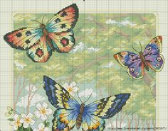 Butterfly Forest 1 of 2 Butterfly Cross Stitch, Cross Stitch Bird, Cross Stitch Animals, Cross Stitch Flowers, Cross Stitching, Cross Stitch Embroidery, Cross Stitch Books, Cross Stitch Charts, Cross Stitch Designs