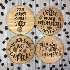 Coffee Coasters, Diy Coasters, Wooden Coasters, Custom Coasters, Wood Burning Crafts, Wood Crafts, Wood Engraving, Engraving Ideas, Laser Cutter Projects
