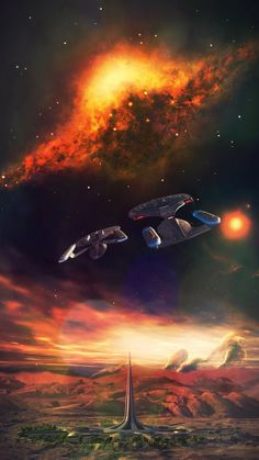 Image Credits -Nebulae by Starkiteckt Designs starkiteckt.deviantart.com -Galaxy-Evo Class by LC Amaral -New Orleans Class Model by Eaglemoss -Farpoint Station Screencap sourced at TrekCore.Com Ima...