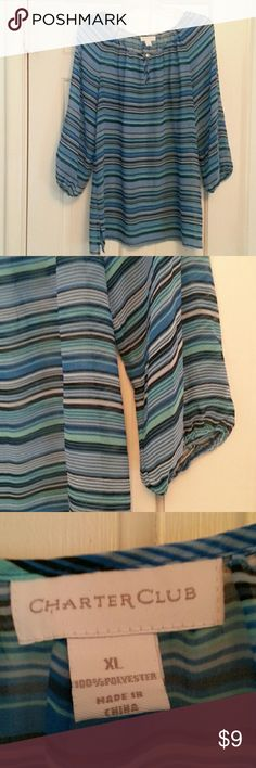 Charter Club Striped Tunic XL Shades of blue and taupe/violet.  Button at keyhole scoop neck.  Elastic  in sleeves. Charter Club Tops Tunics