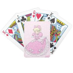 #Pretty Pink Princess Bicycle Playing Cards - #cute #pink #sweet #custom