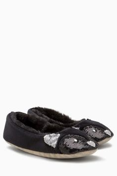 Buy Black Velvet Cat Slippers from the Next UK online shop