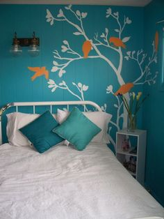 Adhesive wall decorations are cheaper than painting and leave the walls in the same condition after removal. perfect for a growing child's changing interests!