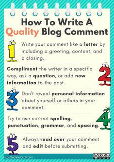 Poster: How To Write A Quality Blog Comment – Primary Tech by Kathleen Morris