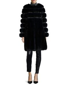 Nafa Embroidered Sable Fur Coat, Navy by Oscar de la Renta at Neiman Marcus.