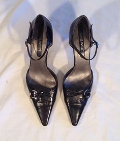 Nine West Shoes 7.5 Black Leather Ankle Strap Heel Pointed Toe #NineWest #PumpsClassics