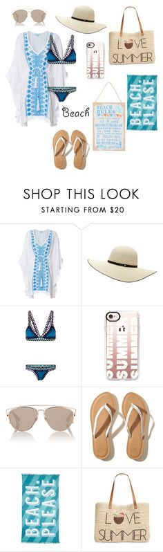 """""""Beach Time!"""" by cheleniak ❤ liked on Polyvore featuring Melissa Odabash, Witchery, kiini, Casetify, Christian Dior, Hollister Co., Nordstrom Rack, Style & Co. and M&Co"""