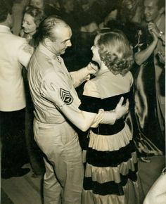 Historic Photograph of Bette Davis Dancing With Sgt. Jackie Coogan At The Premiere Party For The Talk Of The Town Held At Ciro's Nightclub, 1942