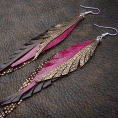 Lipstick Pink Feather Earrings made from Handcut by CyclonaDesigns