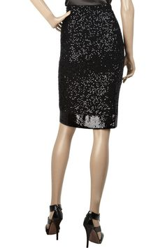 Donna Karan's black sequined cashmere-blend pencil skirt (which I love but I also want the shoes)
