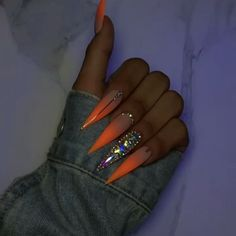 ♛ ͢ - Long Nail Designs - Bling Acrylic Nails, Aycrlic Nails, Bright Summer Acrylic Nails, Best Acrylic Nails, Glam Nails, Bling Nails, Hair And Nails, Fancy Nails, Summer Nails