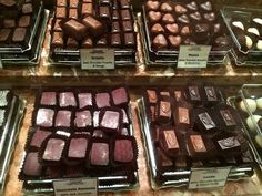 Mmmmm Daniel Le Chocolat Belge's chocolate counter is filled with so many delicious options!