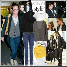 """Celebrity Style: Kristen Stewart at JFK Airport"" by robilollo on Polyvore"