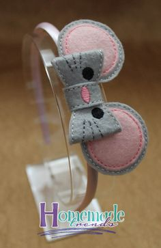Mouse Headband-Baby Mouse Hair Bow-Mouse 3D Felt Bow-Mouse Accessory-Mouse Hair Clip-Animal Hair Accessory-Pink & Grey Felt Mouse-Mouse Bow