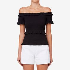 Off Shoulder Shirred Top BLACK