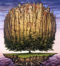 'Cowan City' acrylic painting and cover of 'The Fantastic Art of Jacek Yerka. Art Bizarre, Weird Art, Wassily Kandinsky, Magic Realism, Surrealism Painting, Fantasy Kunst, Fantastic Art, Surreal Art, Art Plastique