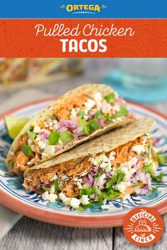Ready for Slow Cooker Pulled Chicken Tacos? Set your slow cooker in the morning, and you've got dinner waiting for you by evening. Finish with NEW Ortega White Corn & Chia Seeds Taco Shells and your favorite toppings. Chicken Taco Recipes, Mexican Food Recipes, Ethnic Recipes, Mexican Meals, Slow Cooker Recipes, Crockpot Recipes, Cooking Recipes, Pulled Chicken Tacos, Pork Tacos