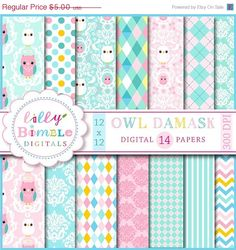 50% off Owl Damask digital papers scrapbooking cards pastel baby paper pack DIGITAL DOWNLOAD