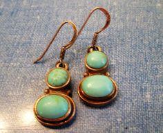 EARRINGS - DOUBLE  TURQUOISE  -  Estate Sale  - 925 - Fish Hook - Dangle - Sterling Silver earrings 387 by MOONCHILD111 on Etsy