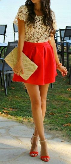 Love the bright red skirt, so classy for date night! I have similar shoes and the skirt in black and almost the exact top!