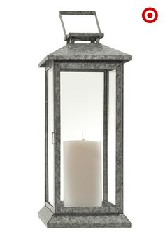 Relax to the soft glow of candlelight with the Threshold lantern. Made of steel and glass, it's a handsome addition to porch, patio or deck, and can even be set in the fireplace or on a mantel. Try a group of lanterns for a brighter glow.