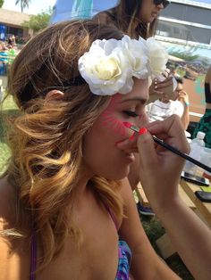 Face painting fun BCBGeneration at Coachella ~ Genchella. Love the flower headdress too