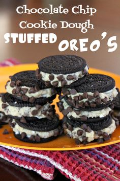 Chocolate Chip Cookie Dough Stuffed Oreos | Cookie dough recipe has no eggs so it's perfectly safe to gobble these down. If you can get one before they're gone, that is. #dealsplus dealsplus.com