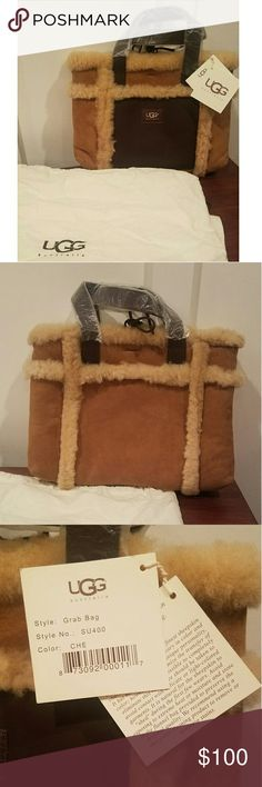 """UGG Tote Bag Brand New UGG tote with dustbag. This """"Grab Bag"""" is in the Chesnut color suede with sheepskin border. Bag has dark brown handles. There is a dark brown middle pocket with zipper along with a tie closure. Bag is approx 10"""" height and 12"""" width. See last picture for more product info. UGG Bags"""