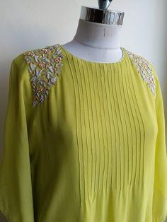 Georgette Kaftan in Draped Style with Zardozi work on Shoulders Pakistani Fashion Casual, Pakistani Dresses Casual, Pakistani Dress Design, Neck Designs For Suits, Dress Neck Designs, Designs For Dresses, Kurtha Designs, Tunic Designs, Churidar Designs