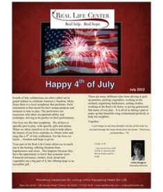 Real Life Center July Newsletter