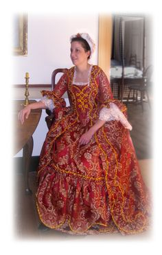 Result of an 18th century inspiration - the gown worn for a Candlelight Tour event at a 1760s historic house.