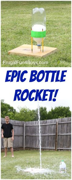 This EPIC Bottle Rocket Flew Higher Than our Two Story House Use a soda bottle baking soda and vinegar Super fun science and backyard project Demonstrate Newtons law. Summer Science, Science Party, Preschool Science, Science For Kids, Rockets For Kids, Fun Science Experiments, Science Projects For Kids, Science Week, Kids Crafts