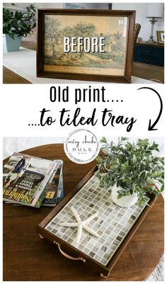 Thrift Store Makeover With Tile (simple home decor!) - Thrift Store Makeover With Tile (simple home decor! Thrift Store Furniture, Thrift Store Crafts, Crafts To Sell, Diy Crafts, Decor Crafts, Fabric Crafts, Upcycled Crafts, Upcycled Home Decor, Tuile