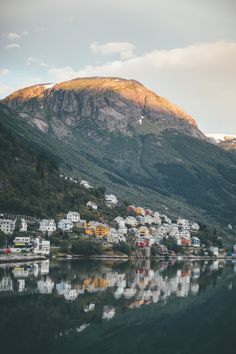 Sunrise in the small village in Odda, Norway