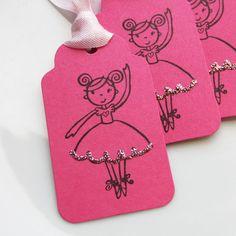 Ballerina Party Tags - Juego de 6 - los colores de encargo disponibles - bailarina de ballet Etiquetas para Regalo de cumpleaños del favor Etiquetas